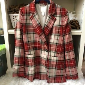 H&M Plaid Double Breasted Blazer